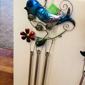 Other - Blue metal bird wind chime, new